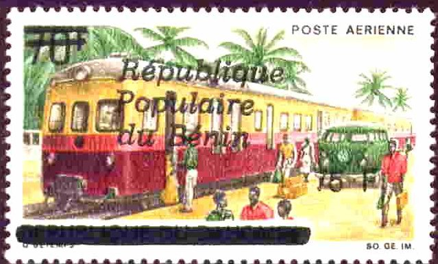 Stamps Benin Provisional Railway Surcharge trains
