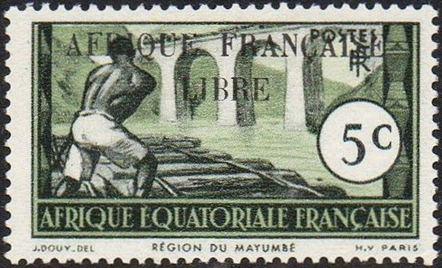 French Equatorial Africa Mindouli Viaduct Stamps and Revenue Stamps
