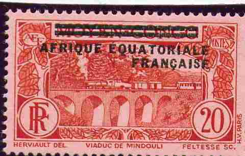 Stamps timbres-poste AEF French Equatorial Africa Railway Viaduc Mindouli Viaduct