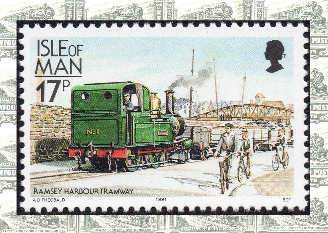 Isle of Man stamps; definitive imprint dates - trains
